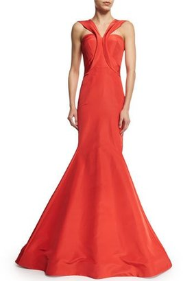 Zac Posen Sleeveless V-Neck Trumpet Gown, Coral $5,990 thestylecure.com