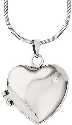 "Steel By Design Stainless Steel 20"" Polished Heart Locket Necklace"