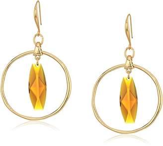 Robert Lee Morris The Bigger Stone Gold and Brown Orbital Drop Earrings