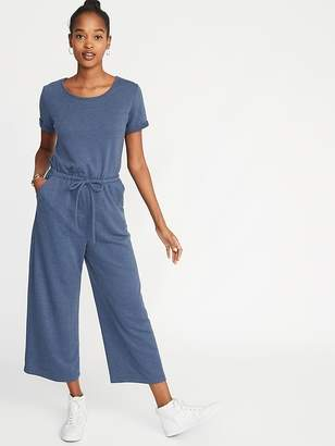 Old Navy Waist-Defined Wide-Leg French-Terry Jumpsuit for Women