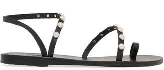 Ancient Greek Sandals Apli Eleftheria Faux Pearl-embellished Leather Sandals - Black