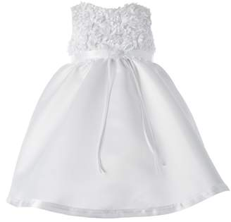 Haddad Brothers Baby-Girls Newborn Christening Baptism Special Occasion Sleeveless Satin Dress with Floral Bodice