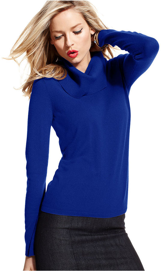 Charter Club Petite Sweater, Long-Sleeve Cashmere Cowl-Neck