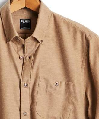 Todd Snyder Brushed Cotton Cashmere Twill Shirt in Camel