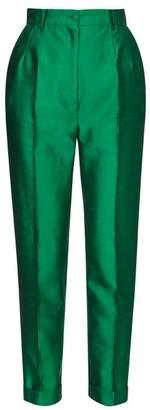 Dolce & Gabbana Turned Up Cuff Silk Straight Leg Trousers - Womens - Green