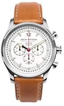 Jack Mason Nautical Stainless Steel& Italian Leather White Dial Chronograph Strap Watch