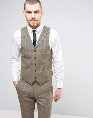 Gianni Feraud Brown Checked Slim Fit Vest