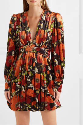 Dodo Bar Or Malenia Twisted Floral-print Velvet Mini Dress - Orange