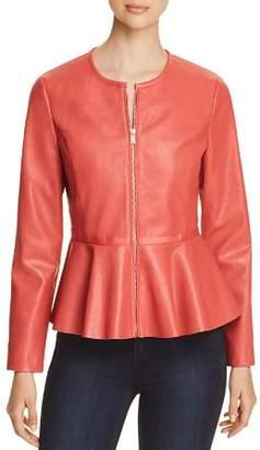 Bagatelle Perforated Faux-Leather Peplum Jacket