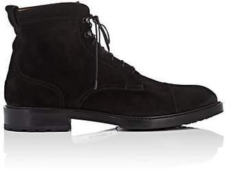 Barneys New York Men's Cap-Toe Suede Boots - Black