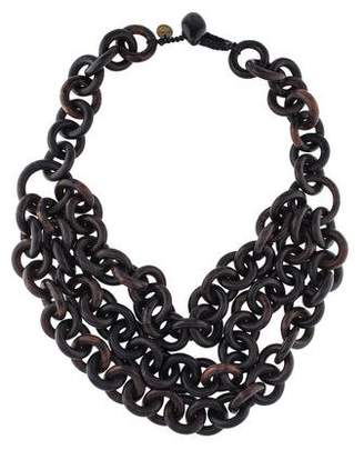 Viktoria Hayman Triple-Strand Tiger Wood-Link Necklace