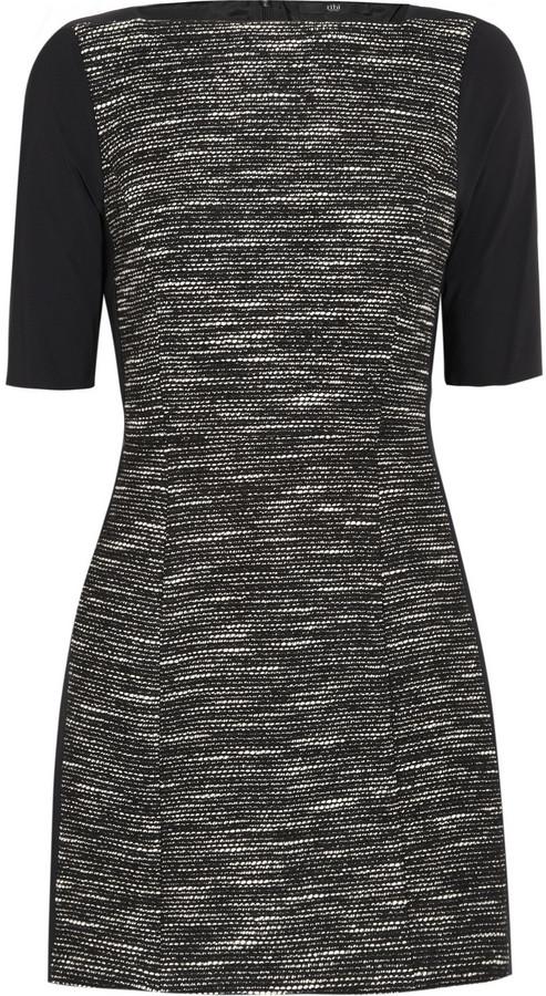 Tibi Tweed and stretch-jersey mini dress
