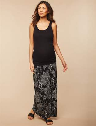 Motherhood Maternity Fold Over Belly Front Slit Maternity Maxi Skirt