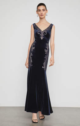 BCBGMAXAZRIA Velvet Lace Applique Gown