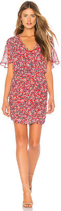 Nicholas Red Blossom Ruched Mini Dress