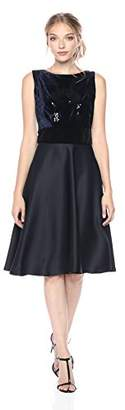 Taylor Dresses Women's Beaded Velvet and Satin Fit and Falre Party Dress