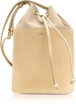 A.P.C. Beige Natural Smooth Leather and Nubuck Clara Bucket Bag
