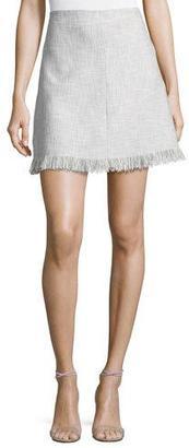 Rebecca Taylor Fringe-Hem A-Line Suiting Skirt, Gray Multicolor $325 thestylecure.com