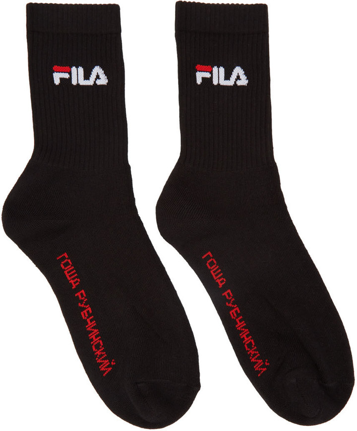 Gosha Rubchinskiy Black Fila Edition Logo Socks