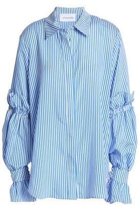 Nicholas Gathered Striped Woven Shirt