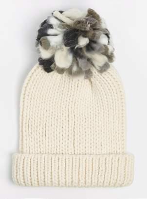 Dorothy Perkins Womens Beige Slub Pom Beanie Hat