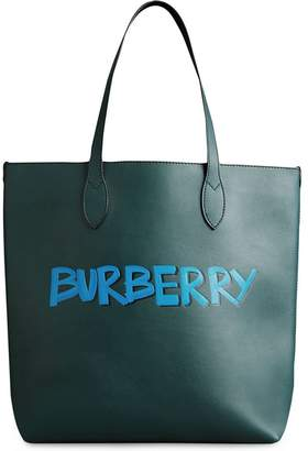 Burberry Graffiti Print Bonded Leather Tote