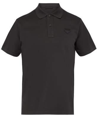 Prada Logo Patch Cotton Pique Polo Shirt - Mens - Dark Grey