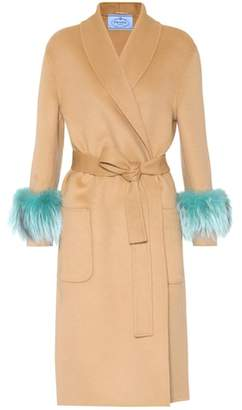 Prada Wool, angora and cashgora fur-trimmed coat