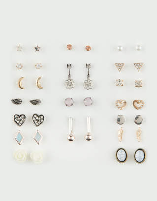 Full Tilt 20 Pairs Moon, Heart & Marble Stud Earrings