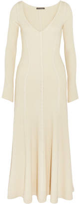 Ribbed Wool-blend Midi Dress - Ivory