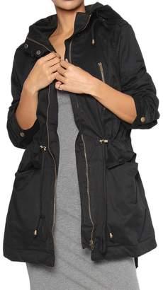 TheMogan Women's Military Drawstring Hooded Anorak Jacket 2XL