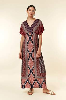 Wallis Womens Blue Paisley Wrap Border Maxi Dress - Blue