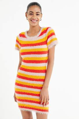 Urban Outfitters Drew Striped Faux Fur Mini Dress