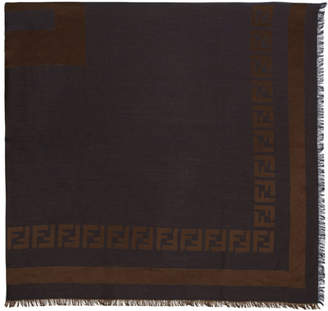 Fendi Blue and Brown Double FF Logo Scarf