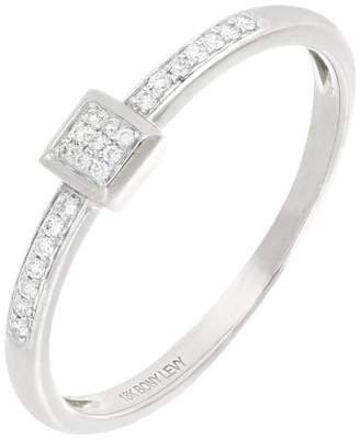Bony Levy Mika 18K White Gold Pave Diamond Square Shape Ring - 0.07 ctw