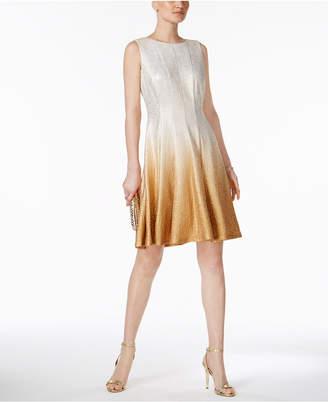 MSK Glitter Ombre Metallic Fit & Flare Dress