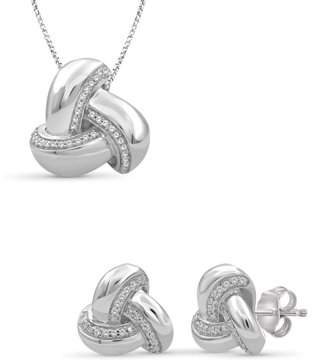 Jewelersclub JewelersClub 1/5 Carat T.W. White Diamond Sterling Silver 2-Piece Love Knot Jewelry Set