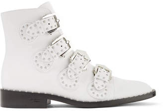 Givenchy Elegant Studded Leather Ankle Boots - White