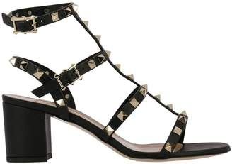 Valentino Garavani Heeled Sandals Rockstud Leather Sandals With Chunky Heels Ankle Strap And Maxi Metal Studs