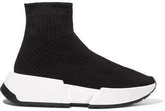 MM6 MAISON MARGIELA Ribbed Stretch-knit Sneakers - Black