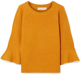 MICHAEL Michael Kors Ribbed Wool And Alpaca-blend Sweater - Saffron