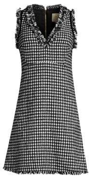 Kate Spade Dashing Beauty Houndstooth Tweed Fray Hem Dress
