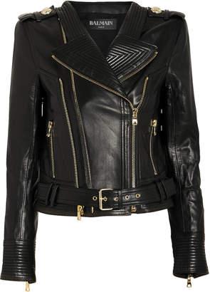 Balmain Perfecto Cropped Leather Moto Jacket