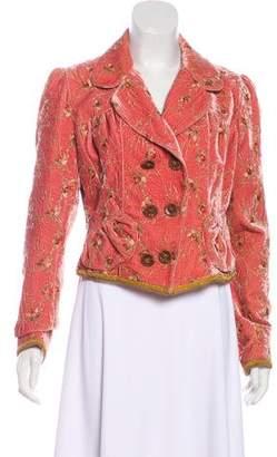 John Galliano Floral Embroidered Velvet Blazer