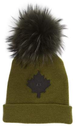 Moose Knuckles Maple Leaf Toque Hat with Removable Genuine Fox Fur Pom
