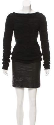 Jitrois Wool Leather-Paneled Dress