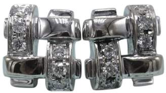 Tiffany & Co. 18K White Gold Diamond Vannerie Basket Weave Earrings