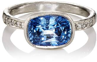 Malcolm Betts Women's White Diamond & Blue Sapphire Ring
