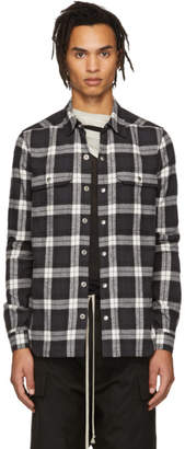 Rick Owens Black and Off-White Check Outer Shirt