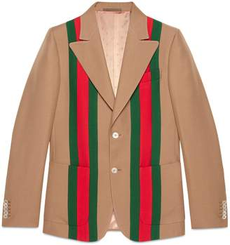 Gucci Heritage Web tape crêpe wool jacket